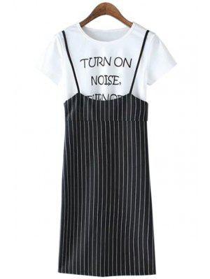 Spaghetti Straps Striped Dress And Short Sleeve T-Shirt Twinset - White And Black S