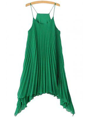 Solid Color Pleated Spaghetti Straps Dress