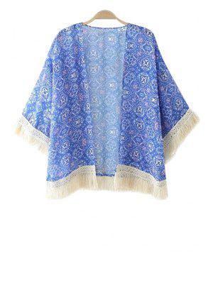Blue Print Tassel Splicing 3/4 Sleeve Coat - Blue