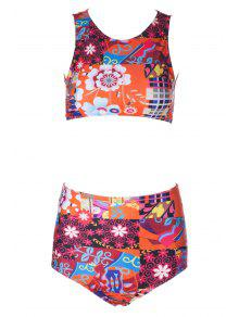 Flower Print High Waisted Bikini Set - M