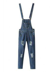 Destroy Wash Pocket Denim Overalls - Deep Blue M