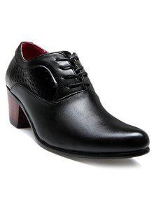 Trendy Patrón De Piedra Y Negro Design Men's Formals Zapatos - Negro 43