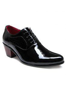 Patrón De Piedra De Moda Y Diseño De Cuero De Charol Zapatos De Los Hombres - Negro 42