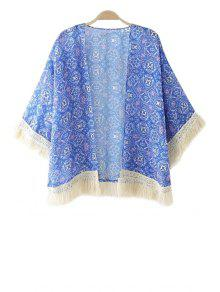 Blue Print Tassel Splicing 3/4 Sleeve Coat - Blue