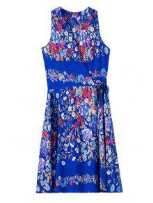 Buy Colorful Floral Print Tie-Up Sleeveless Dress - BLUE L