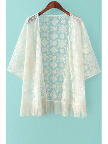 Embroidery Tassels 3/4 Sleeve Kimono - Beige S