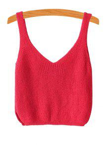 Ribbed Sleeveless Knitted Tank Top - Red