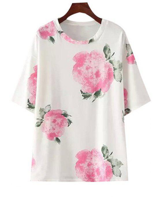 affordable Floral Print Jewel Neck T-Shirt - RED ONE SIZE(FIT SIZE XS TO M)
