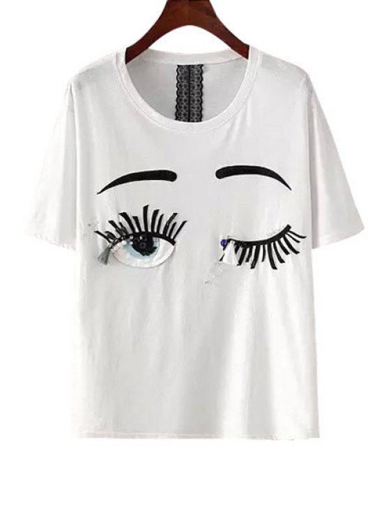 womens Eyes Applique Faux Pearl T-Shirt - WHITE M