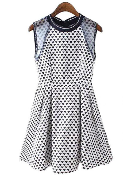 fancy Heart Print Voile Splicing Sleeveless Dress - WHITE AND BLACK S