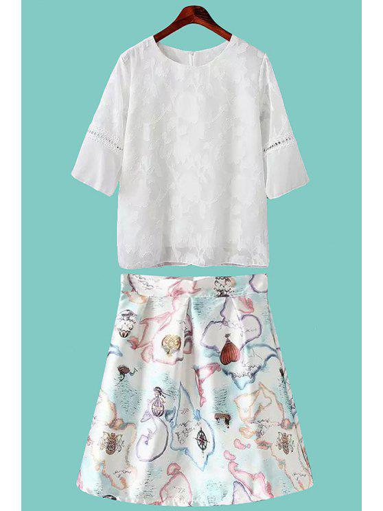 latest Solid Color Lace Splicing T-Shirt + Print Skirt - WHITE S