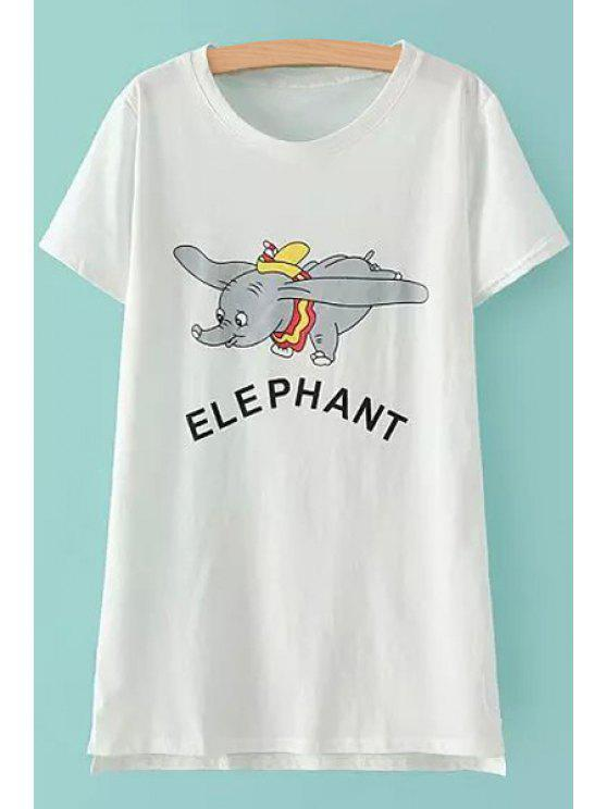 ladies Short Sleeves Elephant Print T-Shirt - WHITE ONE SIZE(FIT SIZE XS TO M)