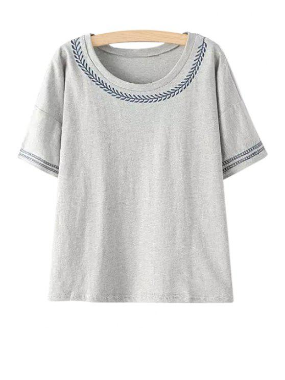 online Embroidery Short Sleeves T-Shirt - GRAY ONE SIZE(FIT SIZE XS TO M)
