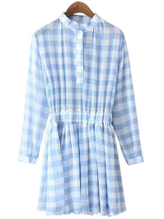 women's Checked Long Sleeve Chiffon Dress - LIGHT BLUE ONE SIZE(FIT SIZE XS TO M)