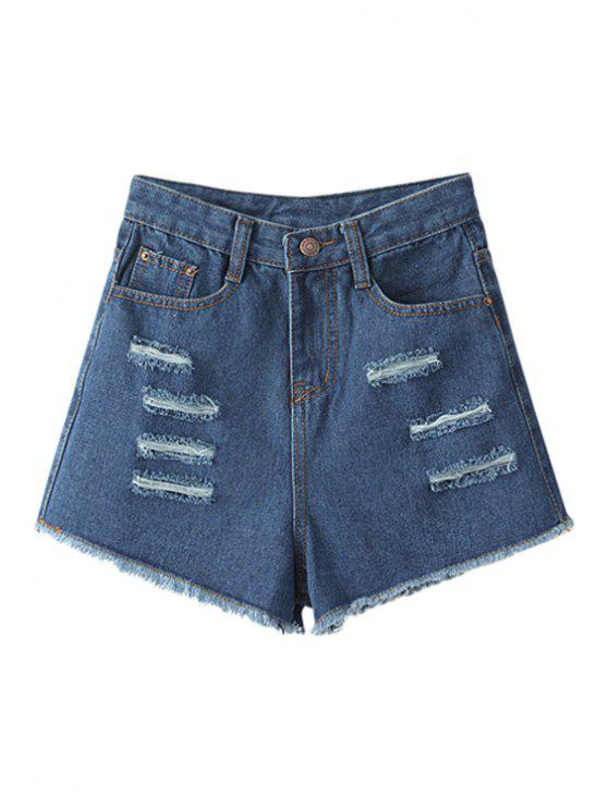 lady Broken Hole High Waisted Denim Shorts - BLUE S