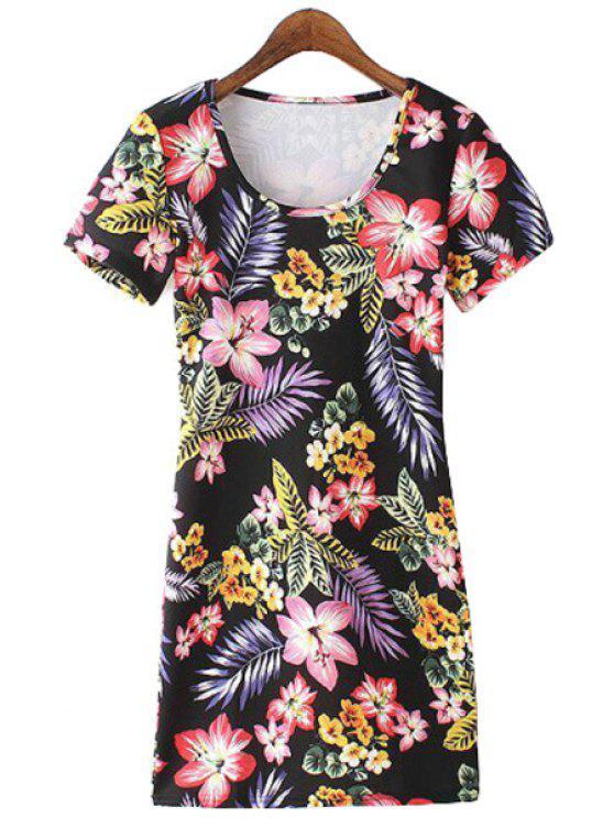 unique Scoop Neck Floral Leaves Print Dress - BLACK S