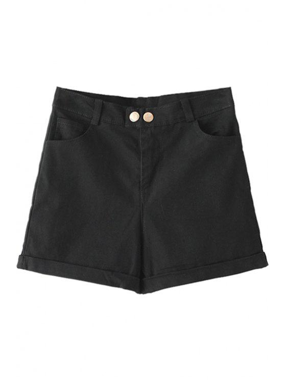 new Solid Color Denim High Waisted Shorts - BLACK S