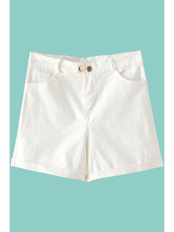 outfits Solid Color Denim High Waisted Shorts - WHITE S