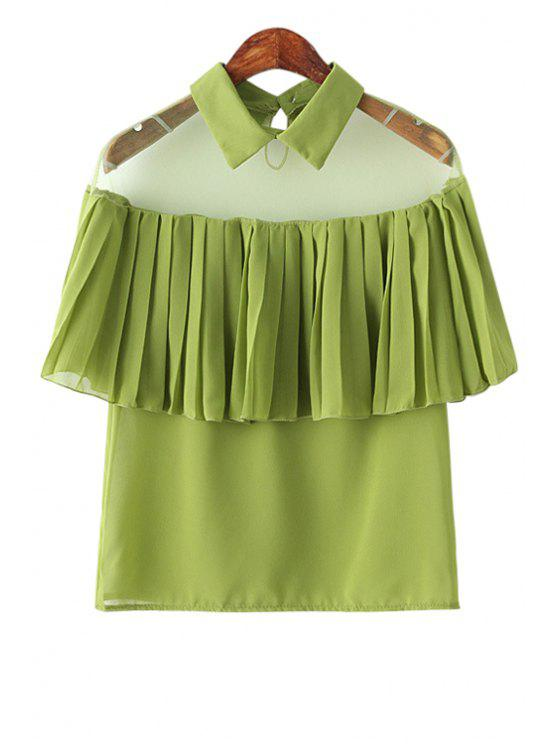 ladies Voile Pleated Ruffles Spliced Shirt - GREEN ONE SIZE(FIT SIZE XS TO M)