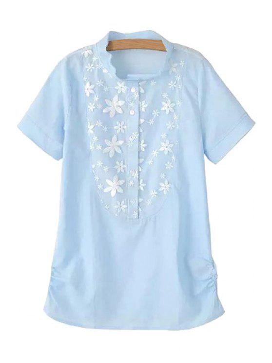 hot Stand-Up Collar Floral Embroidery Shirt - BLUE S
