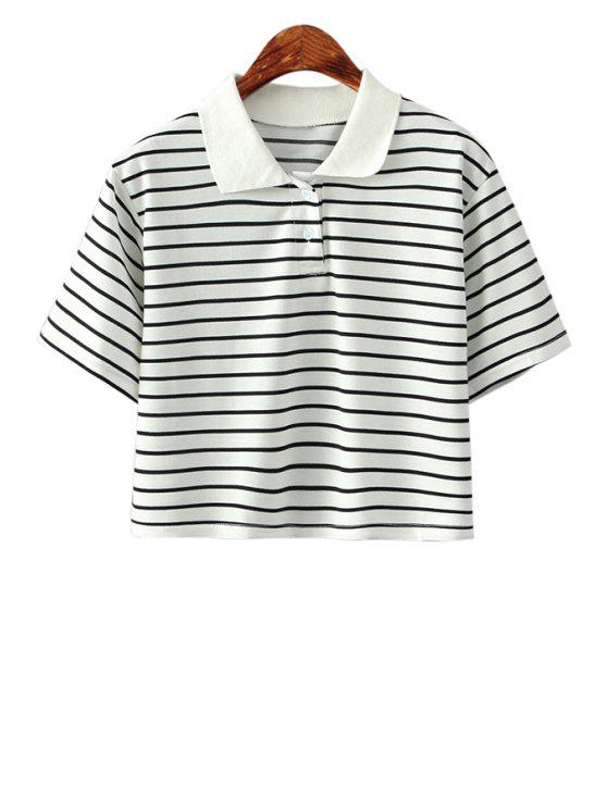 hot Stripe Turn-Down Collar Short Sleeve Shirt - STRIPE ONE SIZE(FIT SIZE XS TO M)