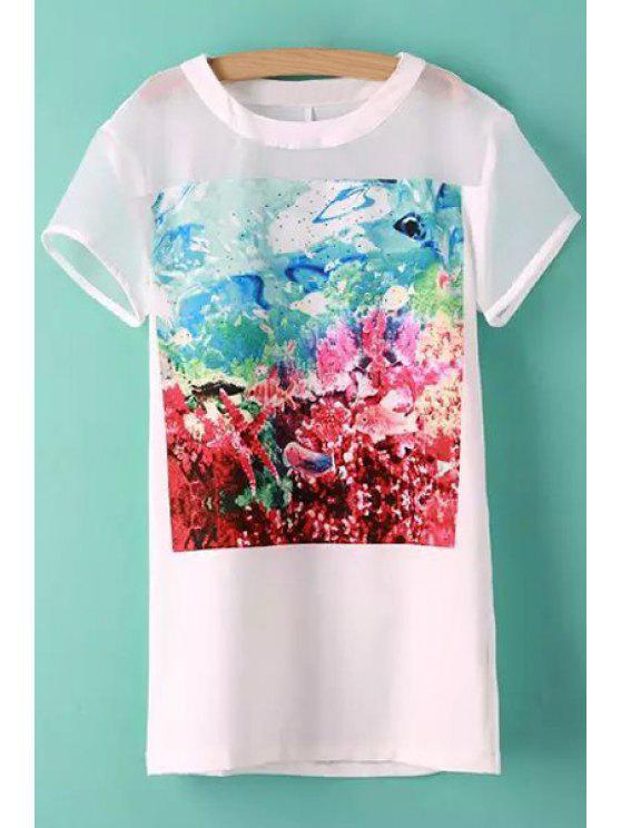 hot Colorful Fish Print Voile Splicing T-Shirt - WHITE S