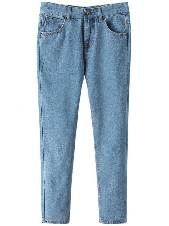 outfits Light Blue Straight Leg Jeans - LIGHT BLUE S