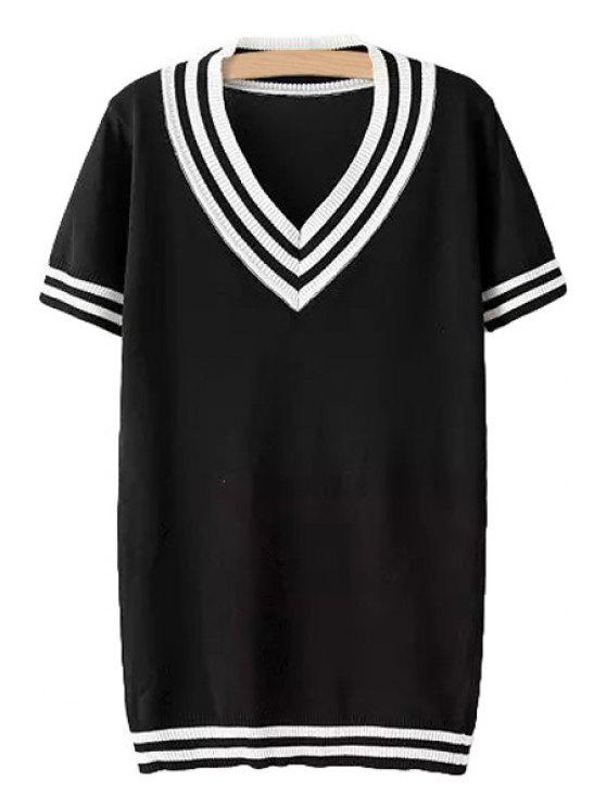 ladies V-Neck Stripe Short Sleeve Sweater - BLACK ONE SIZE(FIT SIZE XS TO M)