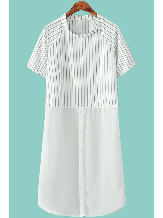 best Stripe Chiffon Spliced Short Sleeve Dress - WHITE ONE SIZE(FIT SIZE XS TO M)