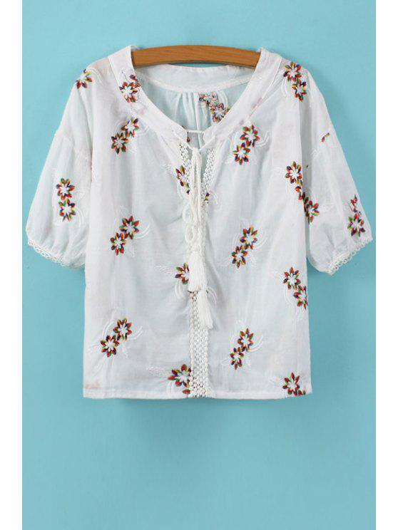 fashion Colorful Embroidery Drawstring Shirt - WHITE ONE SIZE(FIT SIZE XS TO M)