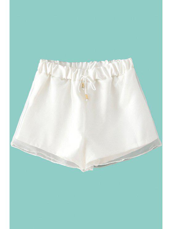 buy Solid Color Voile Spliced Shorts - WHITE ONE SIZE(FIT SIZE XS TO M)