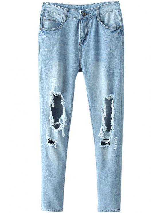 trendy Blue Broken Hole Narrow Feet Jeans - BLUE S