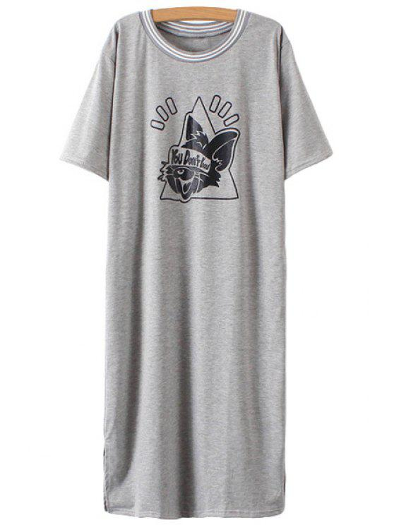 sale Cartoon Print Side Slit Short Sleeve Dress - GRAY ONE SIZE(FIT SIZE XS TO M)
