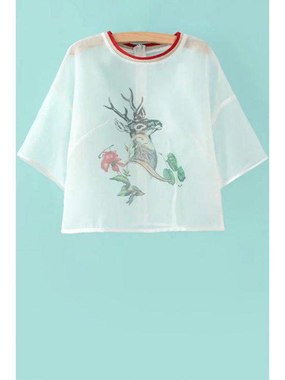 chic Deer Print See-Through T-Shirt - WHITE S
