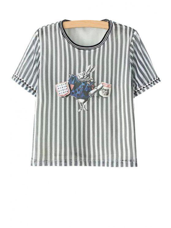 sale Rabbit Pattern Stripe Short Sleeve T-Shirt - STRIPE S