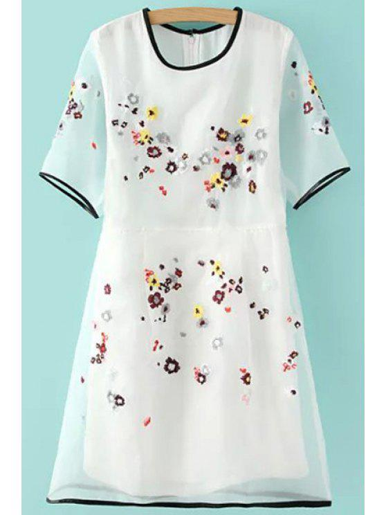 hot Floral Embroidery Short Sleeves Dress - WHITE S