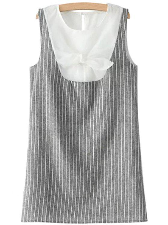 unique Stripe Spliced Sleeveless Bowknot Dress - GRAY S