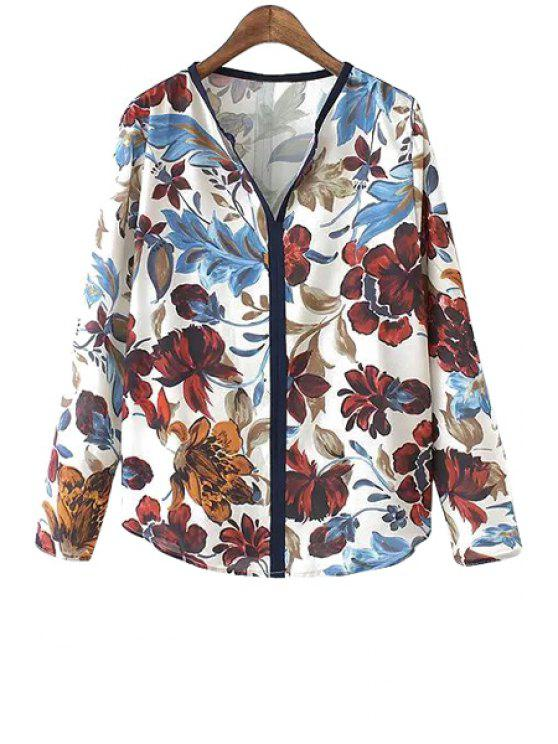 buy V-Neck Ink Floral Print Shirt - COLORMIX ONE SIZE(FIT SIZE XS TO M)