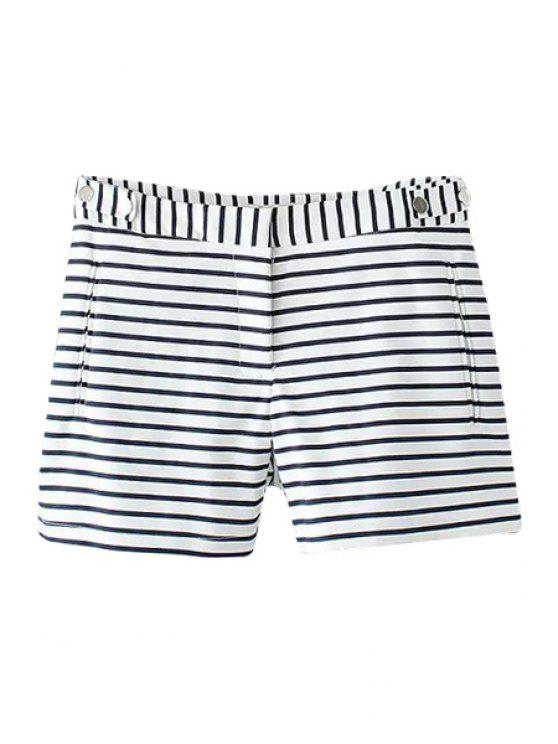 unique Stripe Zipper Fly Shorts - BLUE AND WHITE S
