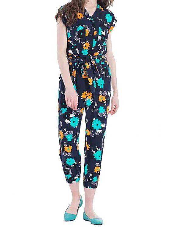 outfit Turn-Down Collar Floral Print Jumpsuit - COLORMIX S