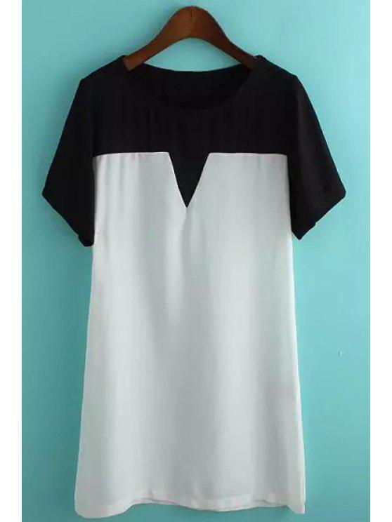 new Black White Splicing Short Sleeve Dress - WHITE AND BLACK S