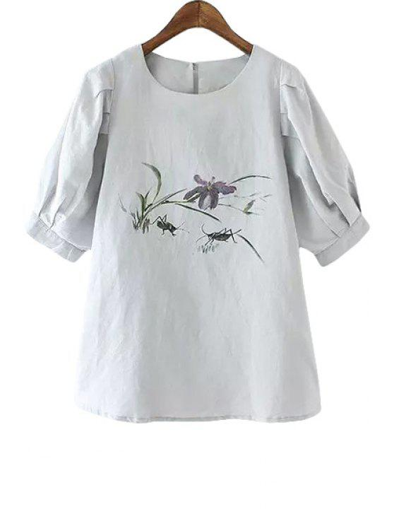 outfit Floral Insect Print Half Sleeve T-Shirt - GRAY M