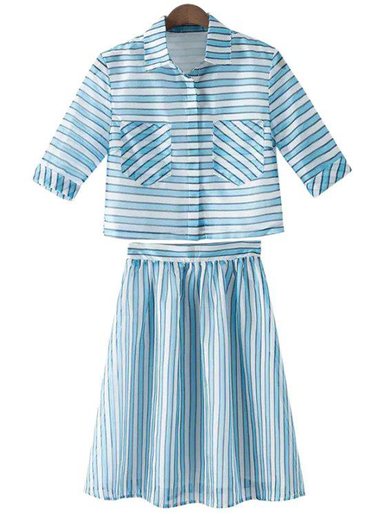 hot Stripe Short Sleeve Shirt and A-Line Skirt Suit - STRIPE S