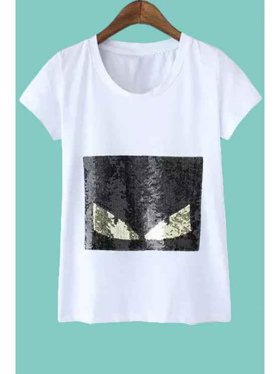 outfit Color Block Sequins Short Sleeve T-Shirt - WHITE L