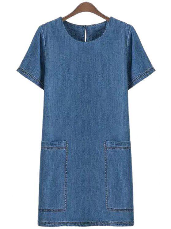 affordable Blue Pocket Denim Short Sleeve Dress - BLUE S