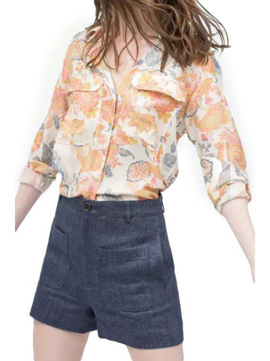 womens Polo Collar Floral Print Asymmetrical Shirt - COLORMIX S