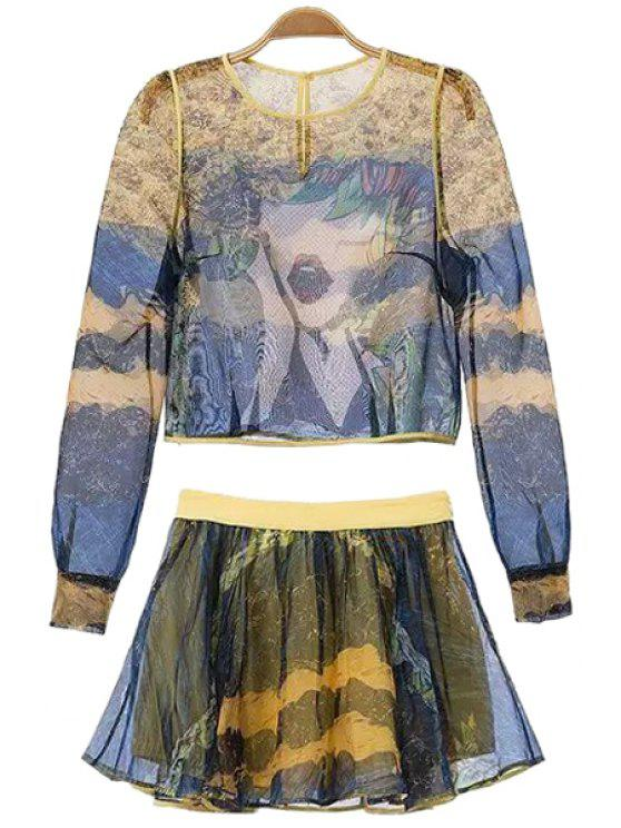 buy Abstract Print Blouse and A-Line Skirt Suit - BLUE S