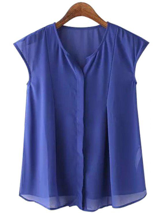 shops Sleeveless Chiffon Solid Color Blouse - BLUE S