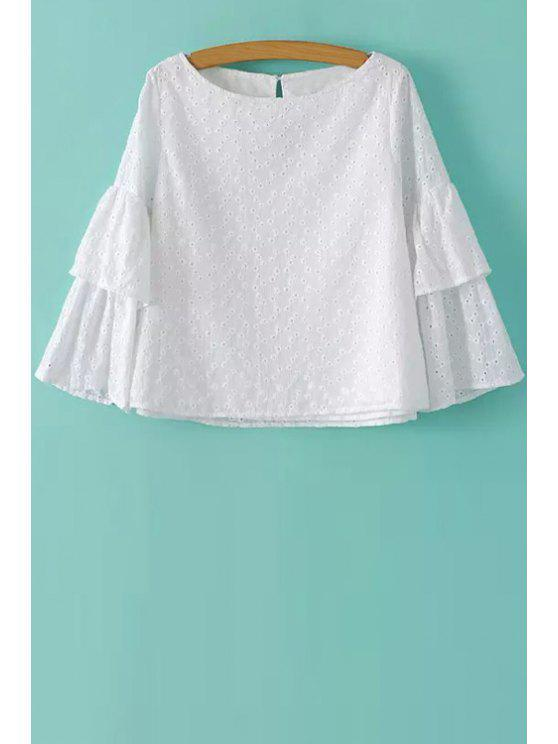 new Solid Color Openwork Two Layered Sleeve Blouse - WHITE S