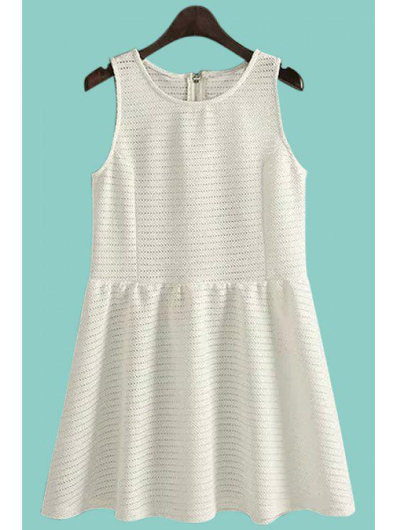 women Solid Color Sleeveless A-Line Sundress - WHITE S